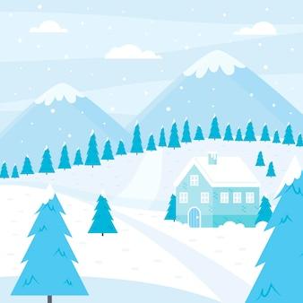 Ilustracja płaski zimowy krajobraz