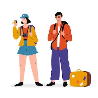 Ilustracja płaskich turystów