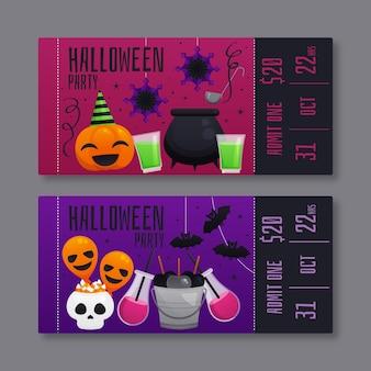 Ilustracja płaskie bilety halloween