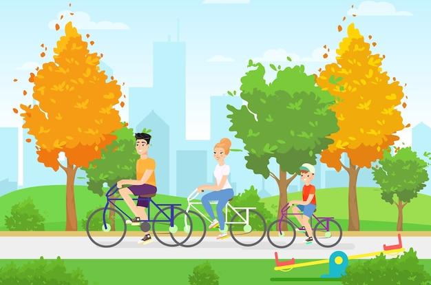 Ilustracja płaskie członków rodziny na rowerze. odpoczywaj razem, zdrowy tryb życia, jesienny spacer, koncepcja aktywności wakacyjnej. rodzinne postacie sportowe z kreskówek. zajęcia wakacyjne, pomysł na przejażdżkę po mieście.