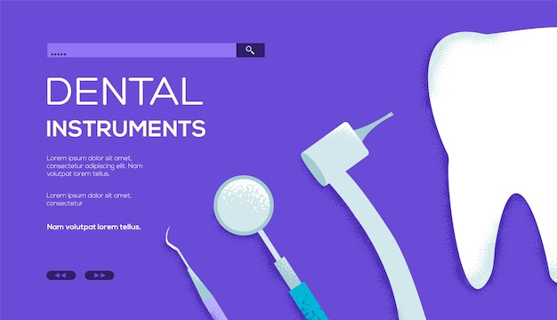 Ilustracja płaskie instrumenty stomatologiczne.
