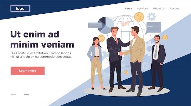Ilustracja płaskie partnerstwa globalnego biznesu