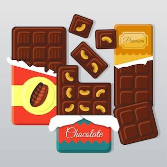 Ilustracja płaskie paski czekolada