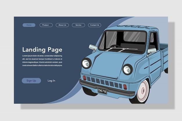 Ilustracja płaskie strony docelowej samochodu