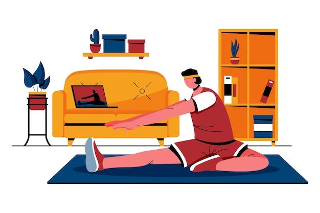 Ilustracja płaskie zajęcia sportowe online