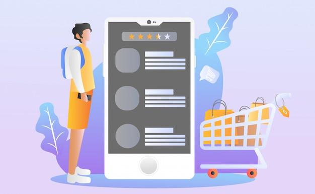Ilustracja płaskie zakupy online