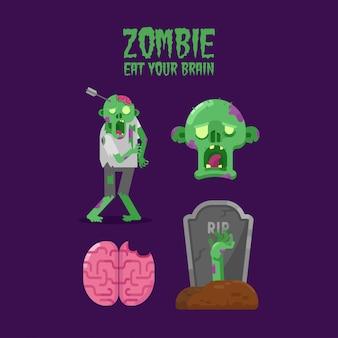Ilustracja płaskiego zombie z chodzącym zombie, głowicą zombie, ludzkim mózgiem i grawą.