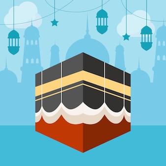 Ilustracja płaskiej islamskiej pielgrzymki hadżdż
