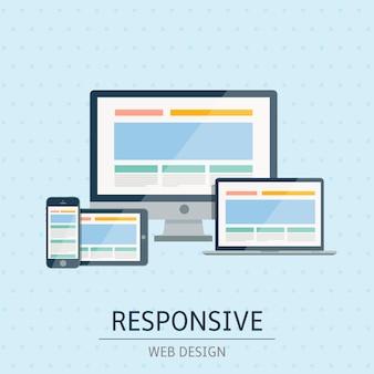 Ilustracja płaskiej koncepcji responsywnego projektowania stron internetowych na niebieskim tle