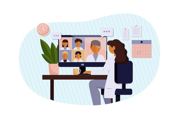 Ilustracja płaskiej konferencji medycznej online