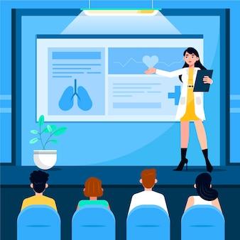 Ilustracja płaskiej konferencji medycznej