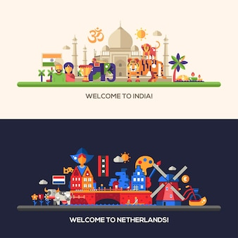 Ilustracja płaskiej konstrukcji holandii i indii