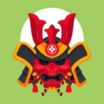 Ilustracja płaskiej maski samuraja
