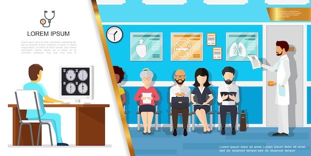 Ilustracja płaskiej opieki zdrowotnej