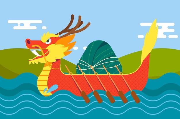 Ilustracja płaskiej smoczej łodzi