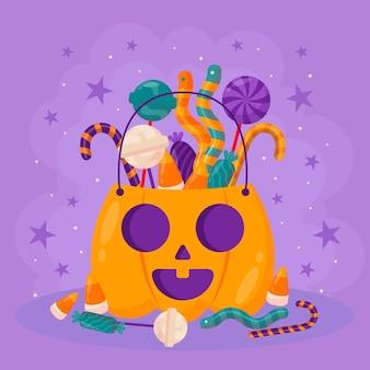 Ilustracja płaskiej torby halloween