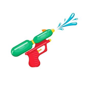 Ilustracja plastikowego pistoletu na wodę dla dzieci z strumieniem wody