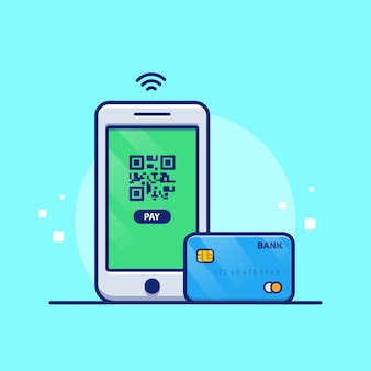 Ilustracja płatności online. telefon komórkowy z kartą debetową. koncepcja technologii na białym tle