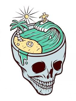 Ilustracja plaży czaszki