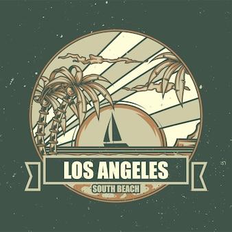 Ilustracja plaży z palmami i zachodem słońca