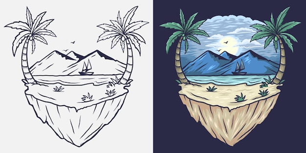 Ilustracja plaży