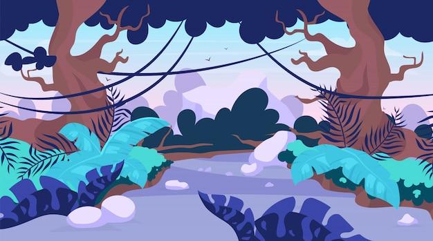 Ilustracja płonącego szlaku. droga w lesie. droga przez tropikalną dżunglę. panoramiczna scena ze ścieżką wśród drzew. trasa odkrywania egzotycznej dzikiej krainy. tło kreskówka lasy deszczowe