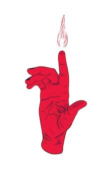 Ilustracja płonących palców