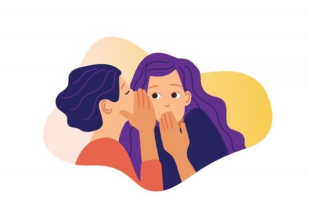 Ilustracja plotek. jedna podekscytowana dziewczyna szepcze tajemnicę do dziewczyny.