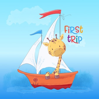 Ilustracja pływająca na łodzi śliczna żyrafa. styl kreskówki. wektor