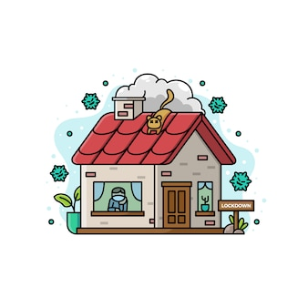 Ilustracja pobytu w domu