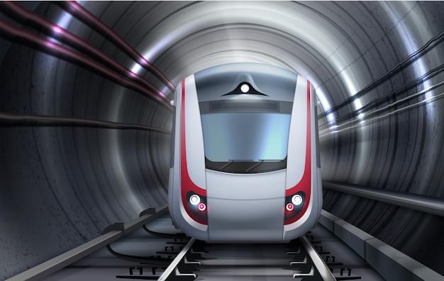 Ilustracja pociągu poruszającego się w tunelu. widok z przodu na białym tle