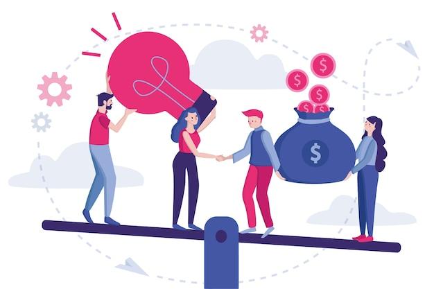Ilustracja. początek partnerstwa, koncepcja biznesowa, umowa stron, uścisk dłoni, biznesmeni stojący na podpisanej umowie.