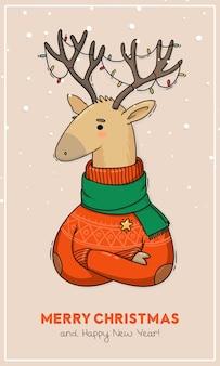 Ilustracja pocztówka boże narodzenie jelenie w czerwonym swetrze