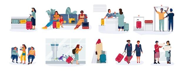 Ilustracja podróżników i turystów
