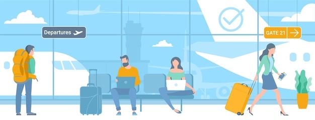 Ilustracja podróżujących młodego mężczyzny i kobiet w strefie odlotów lotniska
