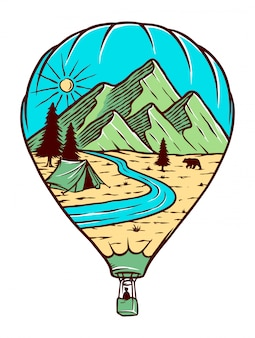 Ilustracja podróży balonem