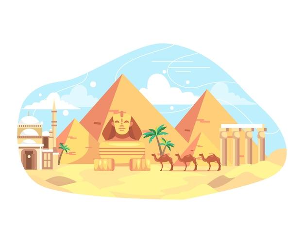 Ilustracja podróży i punkt orientacyjny w egipcie