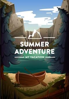 Ilustracja podróży i turystyki. naturalny krajobraz z wakacyjnym obozem w pobliżu jeziora. wektor.