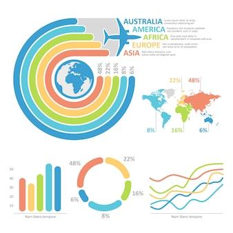 Ilustracja podróży infographic mapa dla prezentaci.