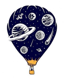 Ilustracja podróży kosmicznych