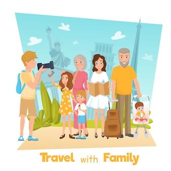 Ilustracja podróży rodziny