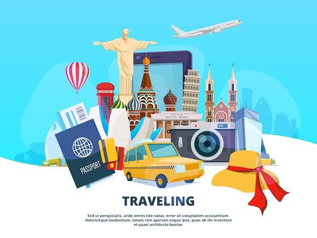 Ilustracja podróży różnych punktów orientacyjnych świata