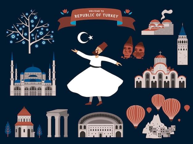 Ilustracja podróży turcji ze znakami słynnych atrakcji, ciemnoniebieska powierzchnia