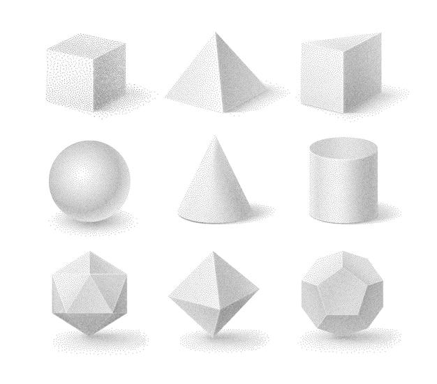 Ilustracja podstawowych kształtów 3d z ziarnistą teksturą półtonów