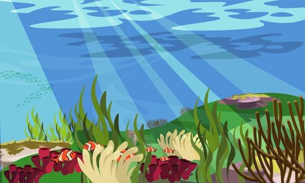 Ilustracja podwodnego krajobrazu egzotyczny klimat klaun ryb i ośmiornica morska flora i fauna