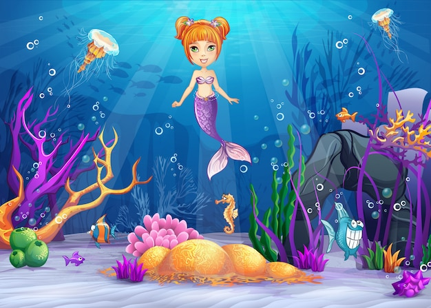 Ilustracja podwodnego świata z zabawną rybą i syrenką.
