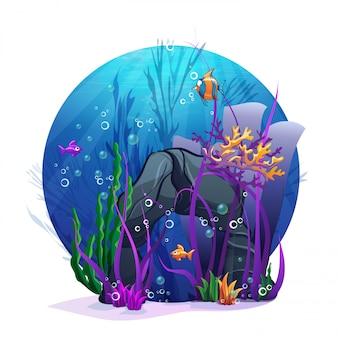 Ilustracja podwodnych skał z zabawą z wodorostów i ryb