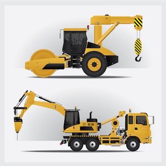 Ilustracja pojazdów budowlanych