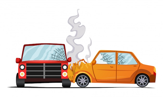 Ilustracja pojazdu powypadkowego, uszkodzenie auto.