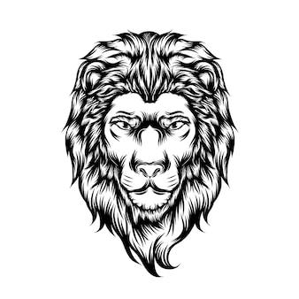 Ilustracja pojedynczej głowy dużego lwa do pomysłów na tatuaż